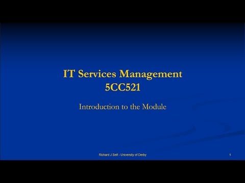 ITSM 2016 Module Specification