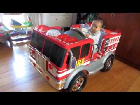 7 Month Old Baby Boy Driving His New Fire Truck Rescue Fighter