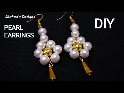 How To Make//Pearl Dangle Earrings//At Home//Jewelry Making//Handmade Jewellery/DIY/Shabna's Designs