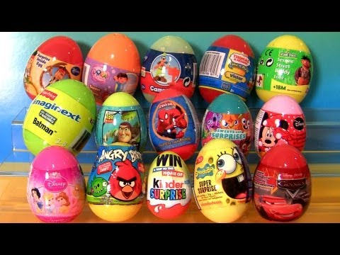 Angry Birds 15 Toys Surprise Batman Elmo Dora MOSHI Monsters Spongebob Minnie Jake Cars 2 Kinder