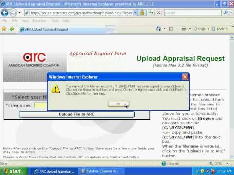 Import BytePro files into ARC\u0027s appraisal order form - YouTube