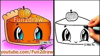 How to Draw Thanksgiving Things  - Cute Pumpkin Pie - Fun2draw Food(Draw & COLOR at your own pace with Fun2draw APPs! Apple: https://itunes.apple.com/artist/mei-yu/id674269351?mt=8 Android: ..., 2013-11-14T18:52:13.000Z)