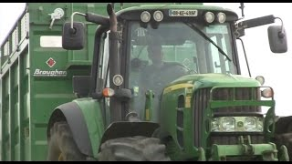 Silage 2014 John Deere 6930s hauling grass with Broughan Trailers