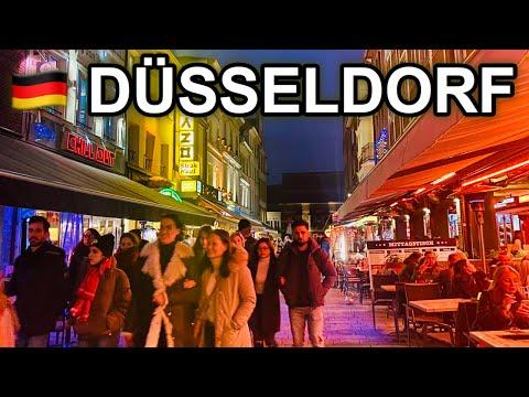 [4K] West Germany Night Walk - Dusseldorf Old Town