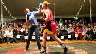 4 women tag-team tent fight - Outback Fight Club - Birdsville 2015