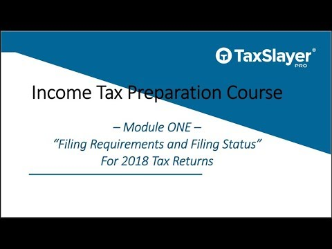 2018 Income Tax Course – Filing Status