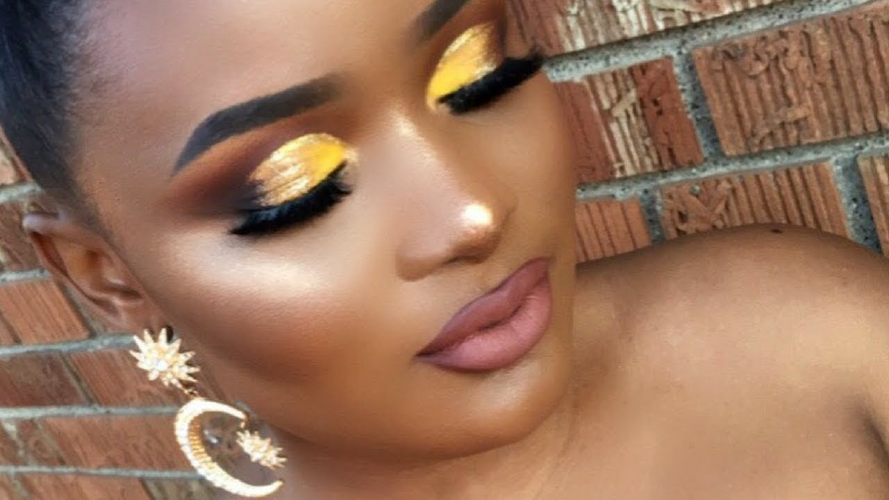 Half Of A Yellow Sun Makeup Tutorial Yellow Gold Glitter Half