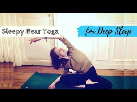 5 Min Sleepy Bear Bedtime Yoga – Best Yoga for Deep Sleep after Work