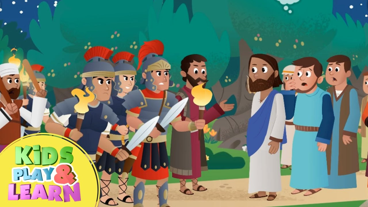 jesus is arrested in the garden beginners bible story for kids