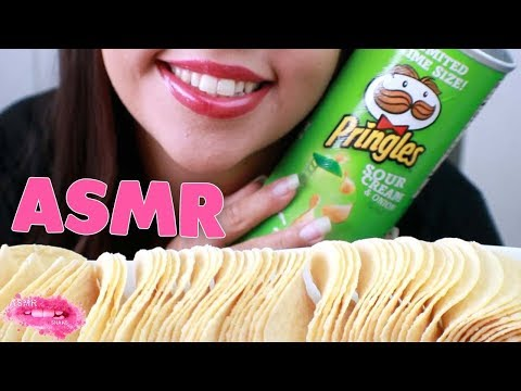 ASMR Pringles Sour Cream and Onion Chips MUKBANG {CRUNCHY Eating Sounds} No Talking Eating Show