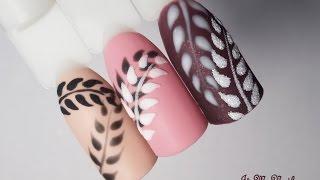 🌱НОГТЕВОЙ ХИТ 2017🌱Нежные бархатные веточки🌱Дизайн ногтей гель лаком🌱Nail design Shellac🌱