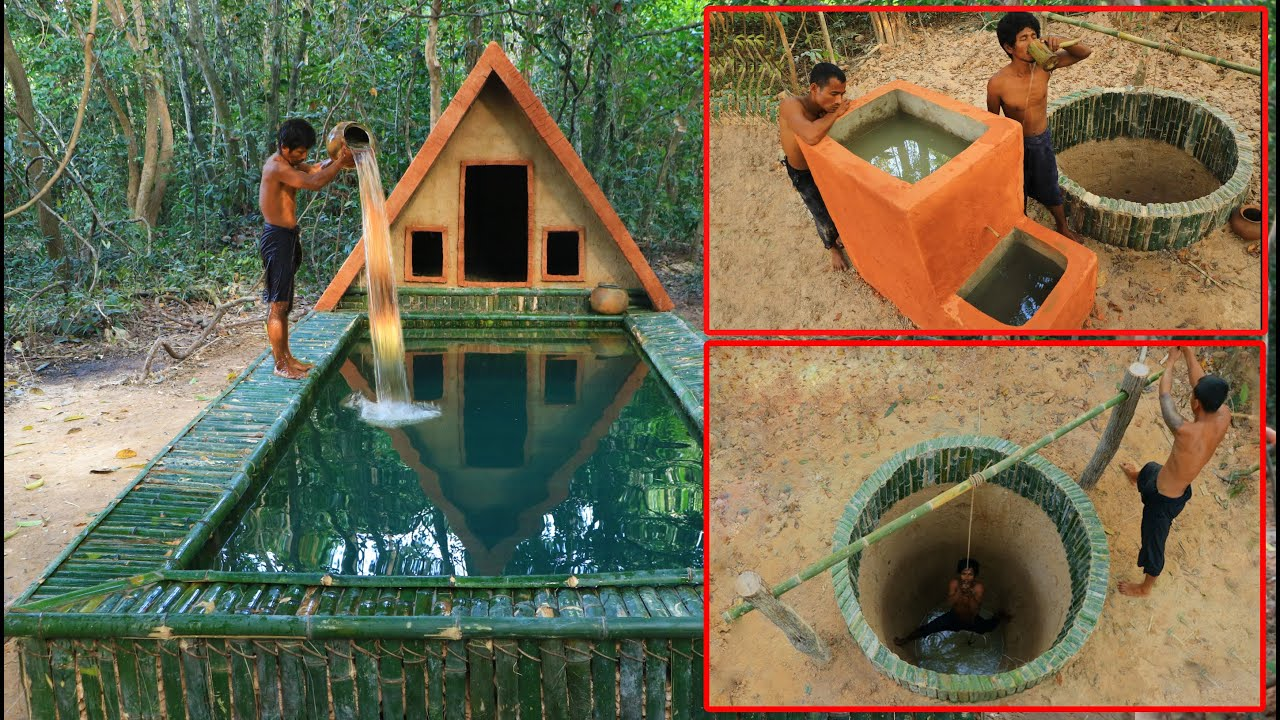 45 Day In Forest ! Finding Groundwater , Build Filter Water Tank , Build House & Swimming Pool