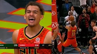 Trae Young shocks entire crowd & goes crazy after hits game-winner against the Bucks !