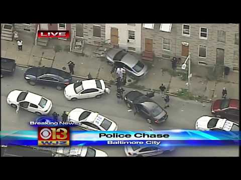 police pursuit man, With Crash In West Baltimore