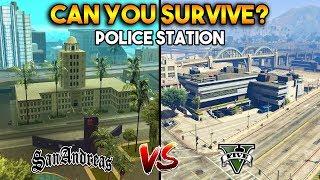 GTA 5 POLICE STATION VS GTA SAN ANDREAS POLICE STATION : CAN YOU SURVIVE?