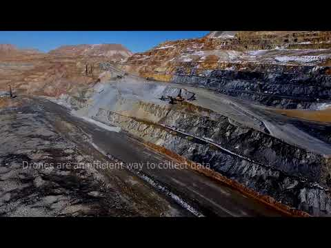 A drone's-eye-view of the Bingham Canyon copper mine in Utah