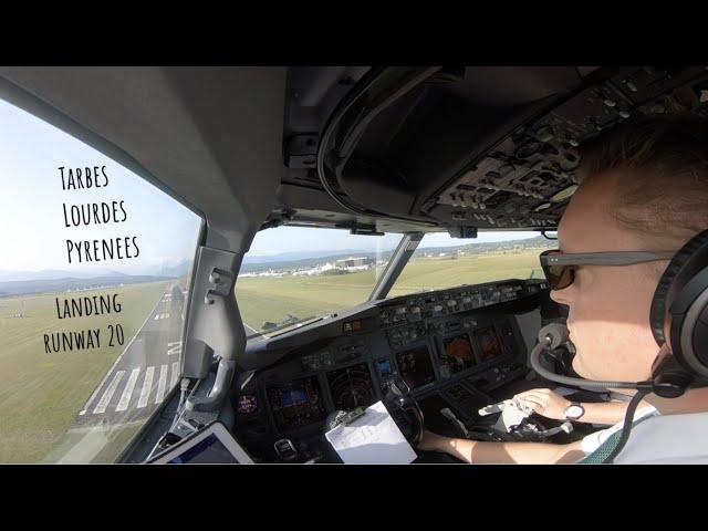Landing runway 20 Tarbes Lourdes Pyrenees (LDE LFBT) as seen from the cockpit of a Boeing 737.