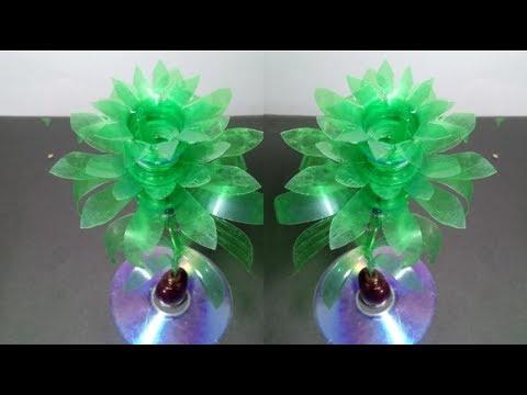 Make Beautiful Rose flower Empty plastic bottle vase making craft water bottle recycle flower
