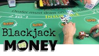 Blackjack DOLLAR BILLS - Blackjack Win - Never Split 10's