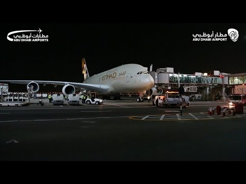 A proud moment for Abu Dhabi Airports as the inaugural A380 flight takes off into the night sky