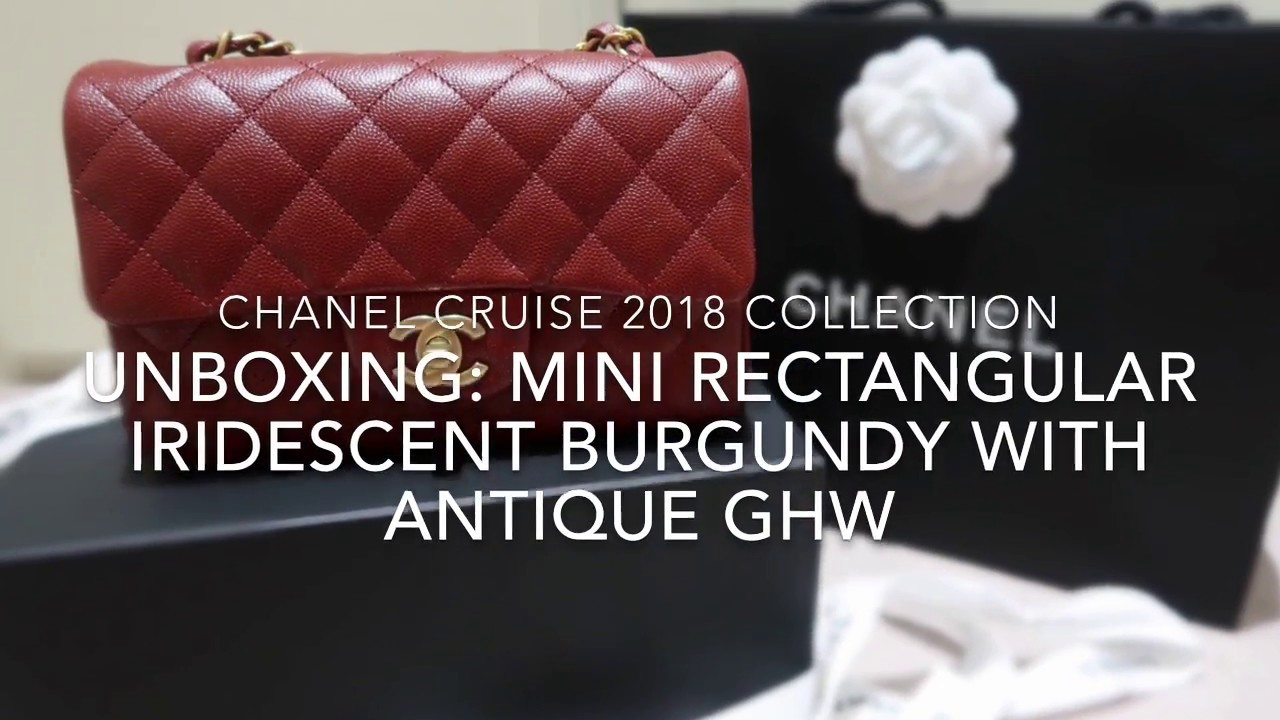 c21d2731360638 Chanel Cruise 2018 Unboxing | Mini Rectangular Iridescent Burgundy With  Antique GHW