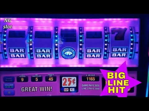 DOUBLE DIAMOND Slot Machine BIG WIN - 25c Denomination High Limit Slot - 동영상