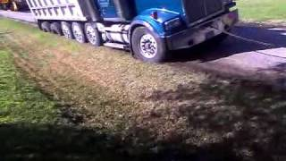 Dump truck gets stuck