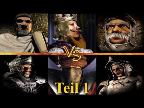 Friedrich, Philipp, Marschall vs Wolf, Wazir, Ratte  - Teil 1 | Stronghold Crusader KI Kämpfe