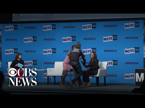 Protester grabs Kamala Harris' microphone, disrupts presidential forum in San Francisco