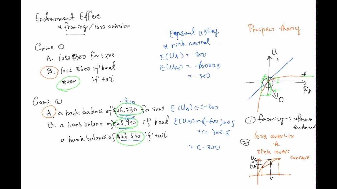 endowment effect, framing, loss aversion - YouTube