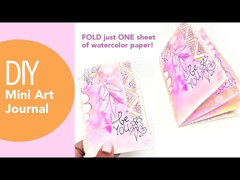 DIY Mini art journal tutorial, HOW TO MAKE A BOOK FROM ONE SHEET OF PAPER