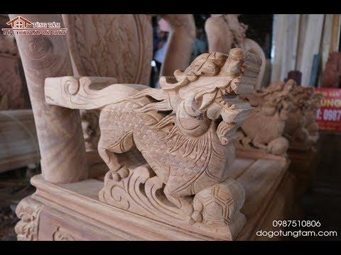 ✅ Bộ bàn ghế nghê Bảo Đỉnh gỗ Gõ Đỏ | Bộ bàn ghế Nghê Đỉnh | Tùng Tám Phú Thọ