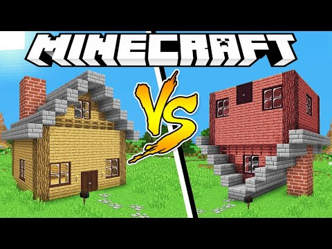 NORMAL HOUSE VS UPSIDE DOWN HOUSE - Minecraft