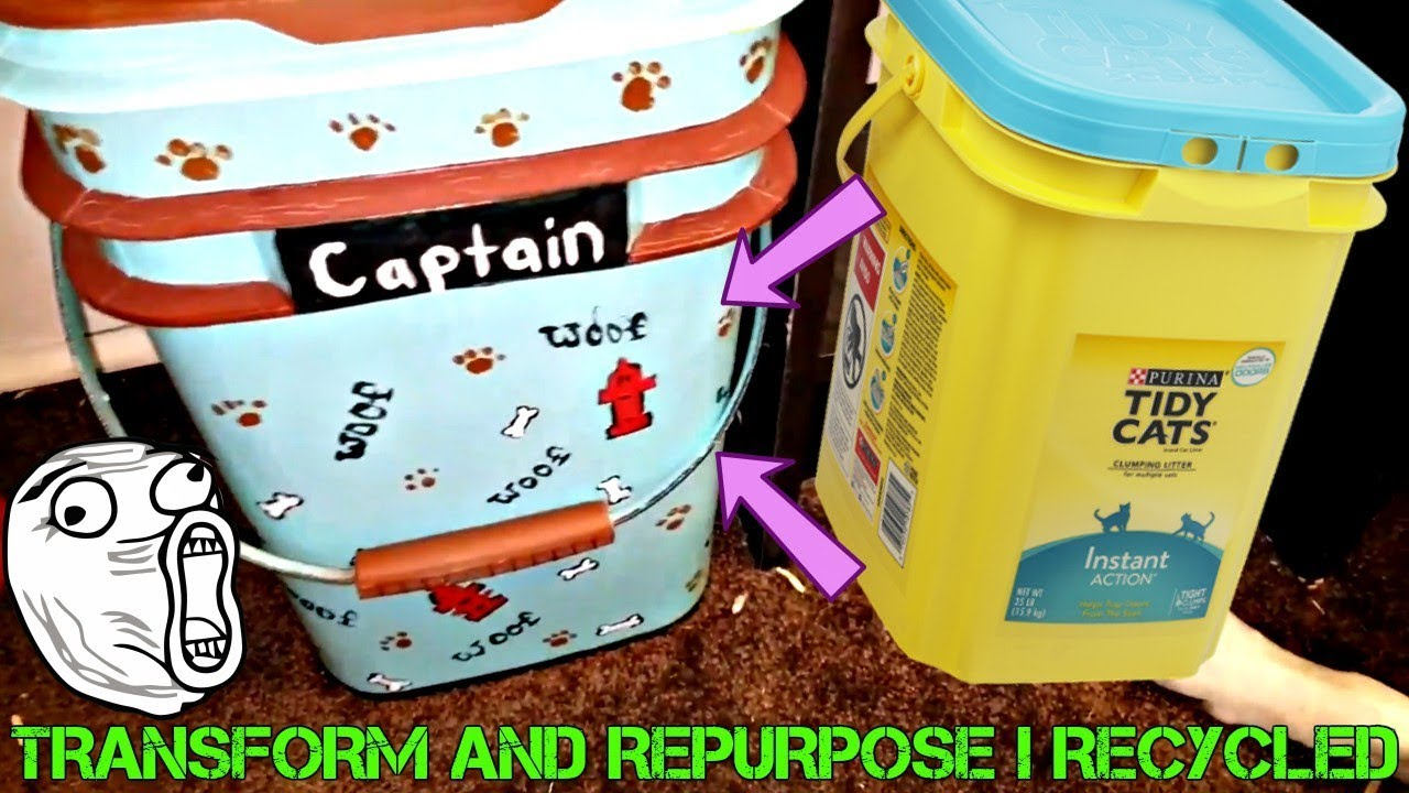 DO IT YOURSELF RECYCLED CAT LITTER CONTAINER