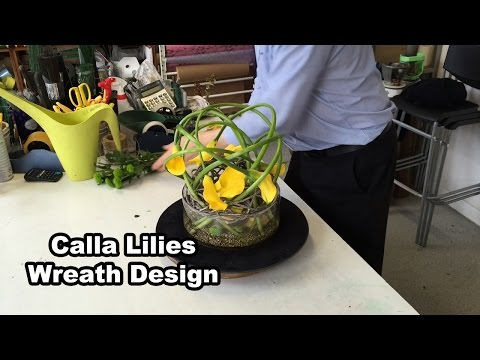 Calla Lilies In Wicker Wreath Design - Easy Flower Arrangement -