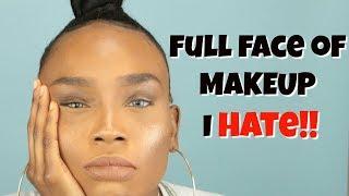 FULL FACE USING MAKEUP I DON'T LIKE | Destiny Lashae Makeup