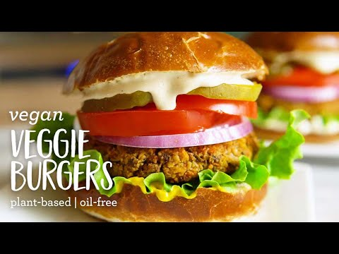 Vegan Veggie Burgers (plant-based, oil-free, gluten-free)