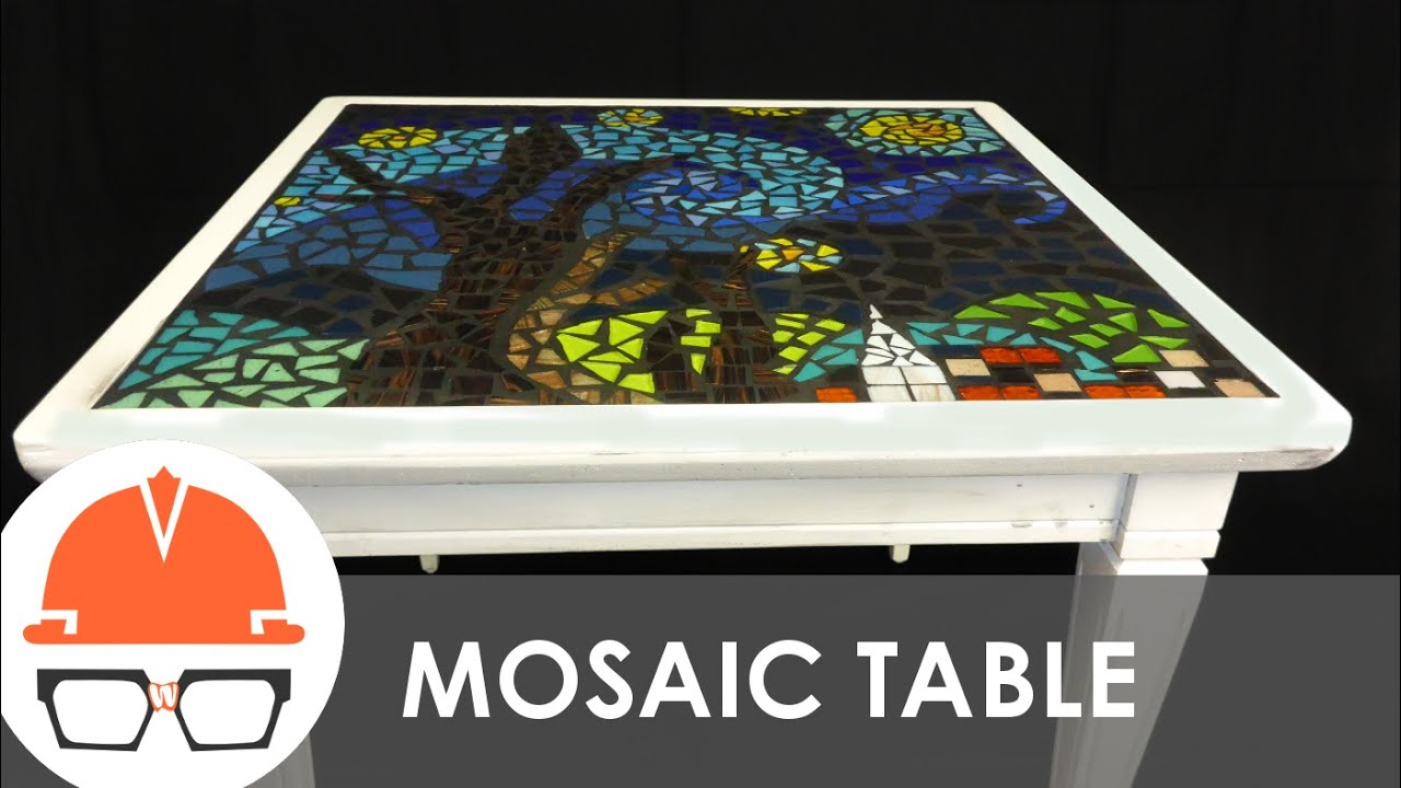 Genial Reclaimed End Table With Starry Night Tile Mosaic Top