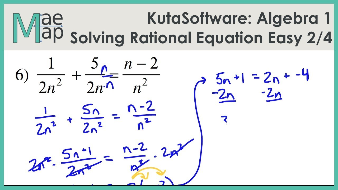 KutaSoftware Algebra 1 Solving Rational Equations Easy Part 2 – Solving Rational Equations Worksheet
