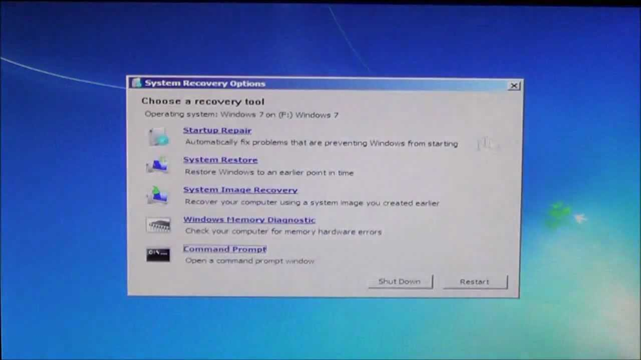 recovery disk windows 7 not working