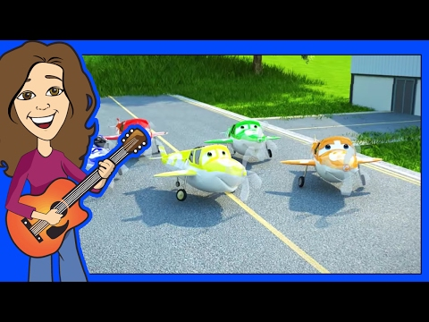 Counting song 5 Little Airplanes for children, kids, kindergarten and toddlers   Patty Shukla