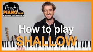 How to play SHALLOW on Piano - Lady Gaga Bradley Cooper Piano Tutorial