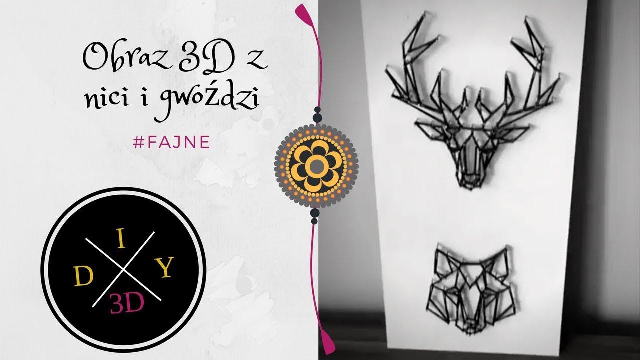 Poważne Obraz 3D z nici i gwoździ. DIY Room decor - YouTube JG94
