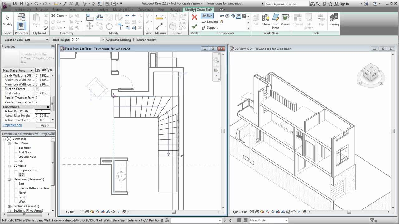 Autodesk Revit Creating A Winder Stair Youtube | Double Winder Staircase Plans | Stairway | 4 Step | Cad | Small Stair | 180 Degree