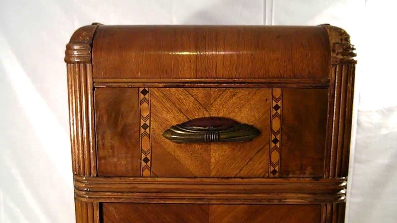 ANTIQUE 1930s ART DECO WHN WASHED STABLE FURNITURE CO BROWN NIGHTSTAND GATSY ERA