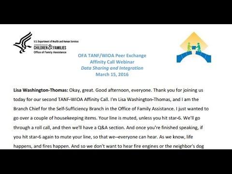 TANF/WIOA Affinity Call Webinar