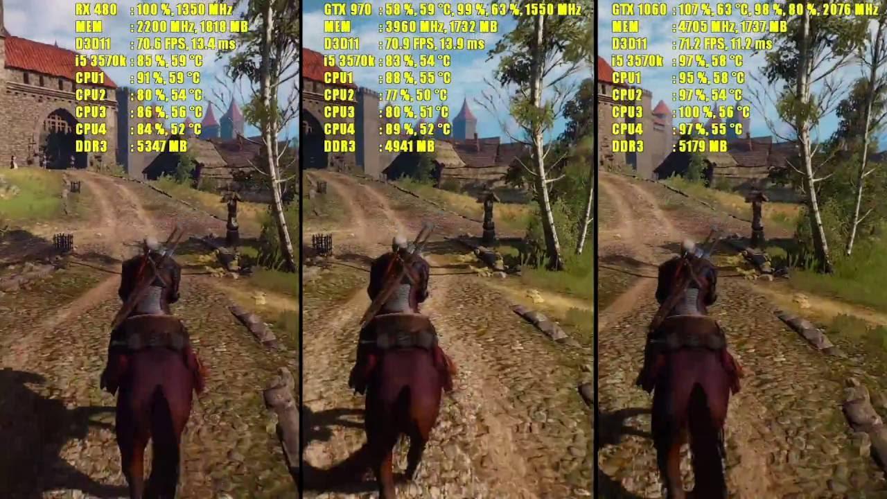 The Witcher 3 GTX 1060 OC - GTX 970 OC - RX 480 OC | 1080p | FRAME ...