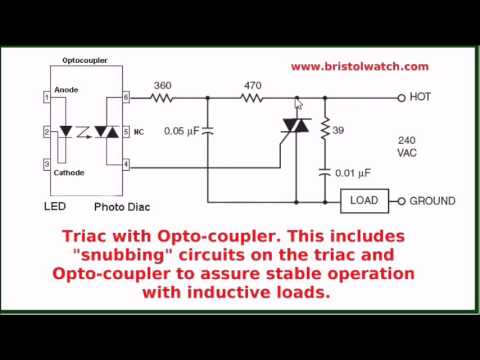 Review AC Relay Circuits Optocouplers Triacs on
