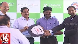Metro MD NVS Reddy Launches Electric Cars At Miyapur Station | Hyderabad | V6 News
