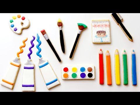 ART SUPPLY COOKIES! Cookie Decorating Tutorial